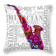 Saxophone With Word Background Throw Pillow