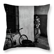 Saxophonist. Throw Pillow