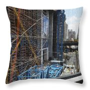 Scaffolding In The City Throw Pillow