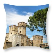 Scaligero Castle At The Entrence Of The Sirmione Medieval Town  Throw Pillow