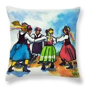 Scandinavian Dancers Throw Pillow