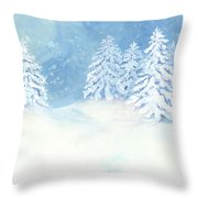 Scandinavian Winter Snowy Trees Hygge Throw Pillow