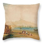 Scarborough Town And Castle Morning Boys Catching Crabs Throw Pillow