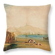 Scarborough Town And Castle Throw Pillow