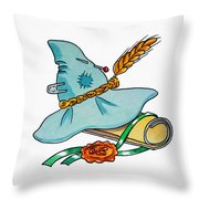 Scarecrow Hat From Wizard Of Oz Throw Pillow