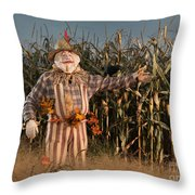 Scarecrow In A Corn Field Throw Pillow