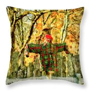 scarecrow in field at Stanhope Waterloo Village Throw Pillow