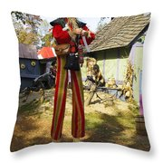 Scarecrow Walking On Stilts Throw Pillow