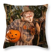 Scarecrow With A Carved Pumpkin  In A Corn Field Throw Pillow
