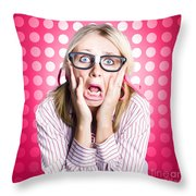 Scared Goofy Business Person Expressing Fear Throw Pillow