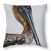 Scared Pelican Throw Pillow