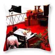 Scarey Old Guy In A Red Suit Throw Pillow