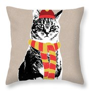 Scarf Weather Cat- Art By Linda Woods Throw Pillow