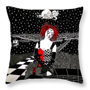 Scarlet Checkers Throw Pillow