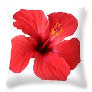 Scarlet Hibiscus Tropical Flower  Throw Pillow