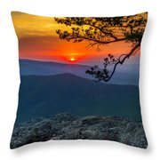 Scarlet Sky At Ravens Roost Panorama I Throw Pillow