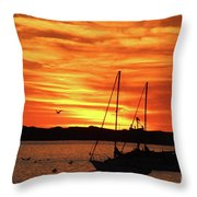 Scarlet Sunrise On Provincetown Pier 1  Throw Pillow