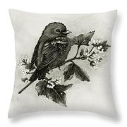 Scarlet Tanager - Black And White Throw Pillow