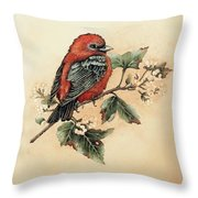 Scarlet Tanager - Vintage Throw Pillow