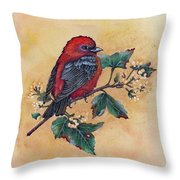 Scarlet Tanager - Acrylic Painting Throw Pillow