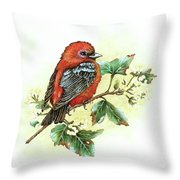Scarlet Tanager - Summer Season Throw Pillow