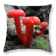 Scarlet Waxcap Throw Pillow