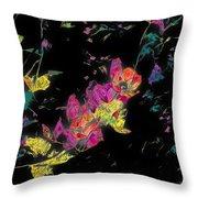 Scarlet Globe Mallow On Black Throw Pillow