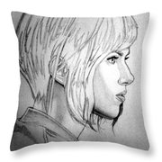 Scarlett Johansson As Major From Ghost In The Shell Throw Pillow