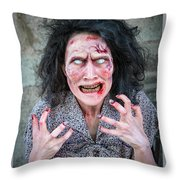 Scary Angry Zombie Woman Throw Pillow