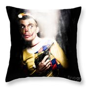 Scary Clown Standing In Shadows With Smoking Gun Throw Pillow