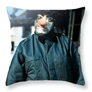 Scary Clown With Coat Throw Pillow