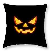 Scary Halloween Horror Pumpkin Face Throw Pillow