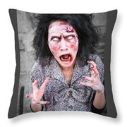 Scary Screaming Zombie Woman Throw Pillow