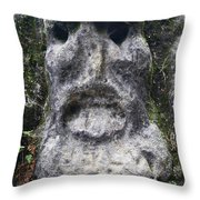 Scary Stone Head Throw Pillow
