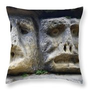 Scary Stone Heads Throw Pillow