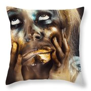 Scary Zombie Pulling Funny Face  Throw Pillow