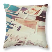 Scattered Collage Of Old Film Photography Throw Pillow