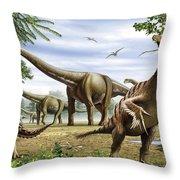 Scelidosaurus, Nothronychus Throw Pillow