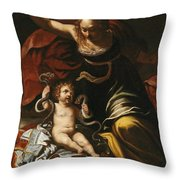 Scene From The Childhood Of Hercules Throw Pillow