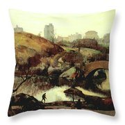 Scene In Central Park Throw Pillow