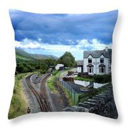 Scene In Snowdonia National Park In Wales Throw Pillow
