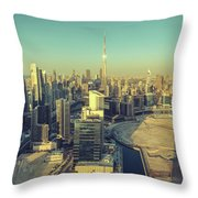 Scenic Aerial View Of Dubai Throw Pillow