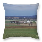 Scenic April Amish Vista Throw Pillow