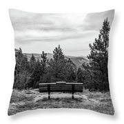 Scenic Bench In Black And White Throw Pillow