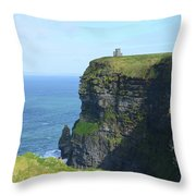 Scenic Lush Green Grass And Sea Cliffs Of Ireland Throw Pillow