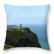 Scenic O'brien's Tower A Top The Cliff's Of Moher In Ireland Throw Pillow