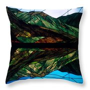 Scenic Stained Glass  Throw Pillow