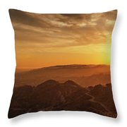 Scenic Sunset Over Hollywood Hills Throw Pillow