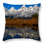 Scenic Teton Fall Reflections Throw Pillow