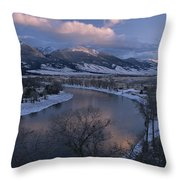 Scenic Twilight View Of The Yellowstone Throw Pillow